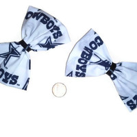 Dallas Cowboys Bow Set, Football team hair bows, sports bows, blue and white bows, texas hair bows, Dallas cowboys accessories, bow sets,