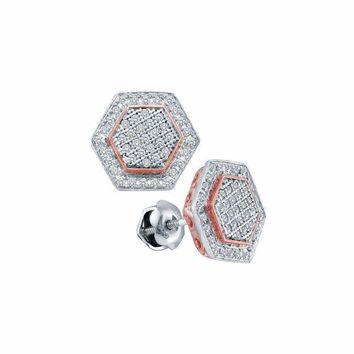 10kt White Gold Women's Round Diamond Cluster Rose-tone Hexagon Stud Earrings 1-3 Cttw - FREE Shipping (US/CAN)