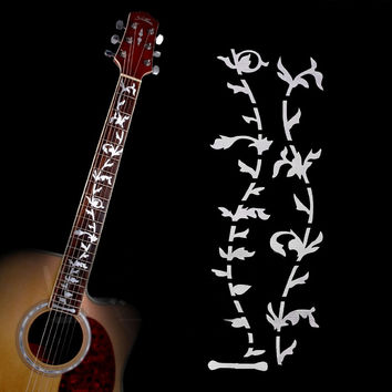 Electric Acoustic Guitar Tree of Life Sticker White Pearl Neck Fret board Fret DIY Decoration Sticker Decal Guitar Sticker