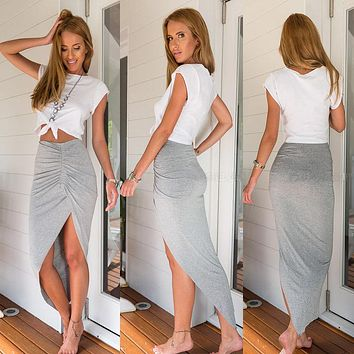 Women High Waisted Asymmetric Stretch Ruched Skirt Party Mini Bodycon Dress