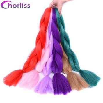 LMF78W Chorliss 24inch(65cm) Solid Color Jumbo Braids Synthetic Crochet Hair Extensions Ombre Braiding Hair Bundles 100g/pack
