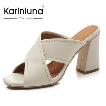 KARINLUNA brang new genuine leather open toe women mules pumps sexy high heels party shoes woman nature cow leather