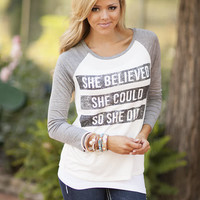 She Believed Baseball Top CLEARANCE