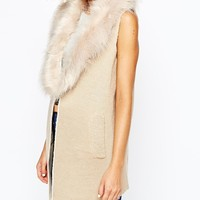 River Island Sleeveless Faux Fur Trim Coat