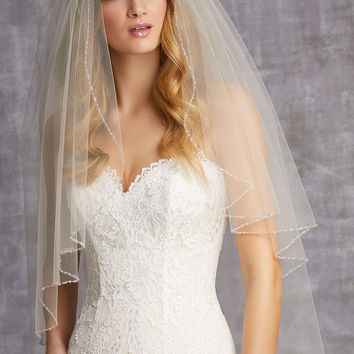 Angel Shaped Veil Edged with Bugle Beads, Crystals, and a Hint of Blush Bugle Beads