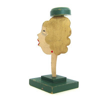 Vintage Hand painted Hat Stand Folk Art Aged wood paint. Face with gold blond hair Woman's head