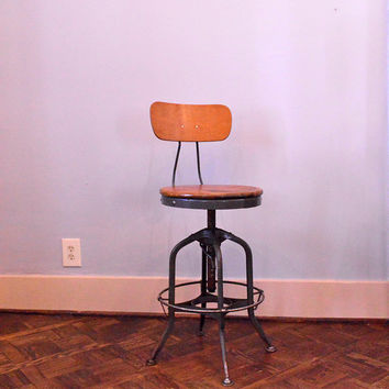Vintage Toledo Drafting Chair, Adjustable Industrial Desk Chair, Mid Century Chair