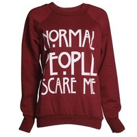 FashionMark Women's Normal People Scare Me Print Fleece Sweatshirt Hoodie Top - 7 Colors - Size 6-12 (ML (10-12), Black)
