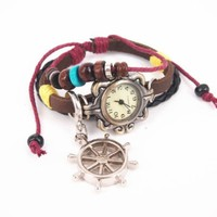 Leather Belt Watch with Helm Pendant and Wooden Beads LYFD135