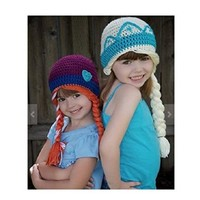 Buy Home Handmade Frozen Winter Princess Elsa and Anna Toddler Baby Crochet Hat 3 Size
