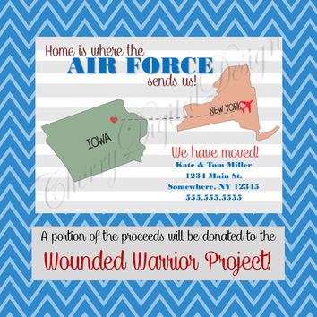 Air Force Military Printable Digital Custom We have moved announcement.  Moving announcement for military.  Army, Navy, Marines, Air Force