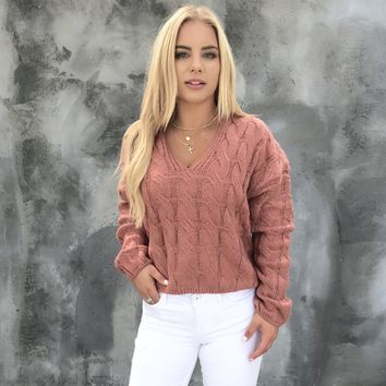 Move To Me Mauve Knit Sweater