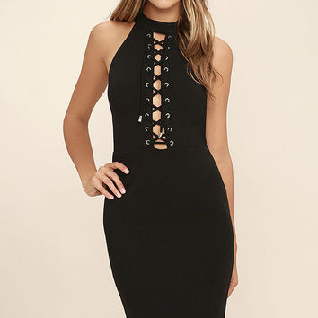 Hold You Tight Black Lace-Up Bodycon Dress