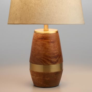 Walnut Wood and Antique Brass Carter Accent Lamp Base