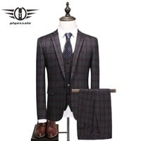 Slim Fit Plaid Suit Men Luxury Men Suits Wedding Groom 3 Piece Formal Business Suits Costume