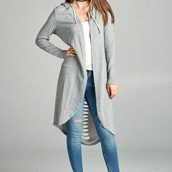 Distressed Back Hoody Cardigan - Heather Gray