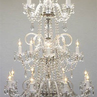 "Murano Venetian Style All Crystal Chandelier Lighting W 30"" H 50"" - A46-383/8+4+5  Gtc"