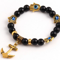 Black and Gold Bracelet with Anchor and Palms