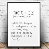 DEFINITION OF MOTHER Funny Wall Art Printable Definition Funny Gift For Mother Poster Definition Print Definition Typography Mother Day Gift