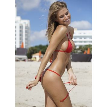 red small scrunch 3 piece scrunch back bikini bottom - Scrunch Butt Bikini, Small Scrunch Butt Bottoms, Triangle Top Bikinis, Sexy Scrunch Butt Bikini, Small Triangle Top Bikini, Sexy Triangle Top Bikini - TBSW Swimwear Miami Beach