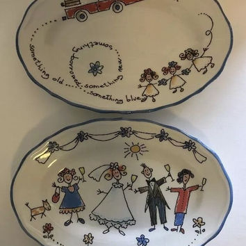 """Spose Bride & Groom Wedding 3 Oval Plate, Scalloped Edge, Made in Italy 8 3/4""""."""
