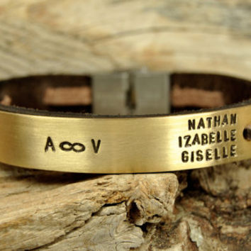 FREE SHIPPING - Men Personalized Bracelet, Natural Leather Men Bracelet, Brown Leather and Brass Plate Bracelet