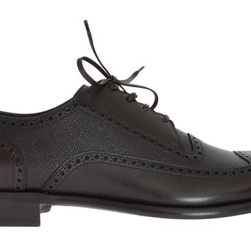 Brown Leather Wingtip Formal Shoes