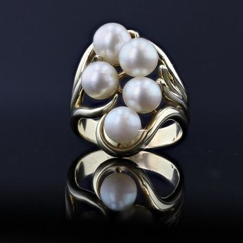 14k Yellow Gold Estate Pearl Ring