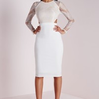 LACE LONG SLEEVE CUT OUT MIDI DRESS WHITE