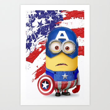 The Avengers Despicable me minion Captain America  Art Print by Pointsalestore