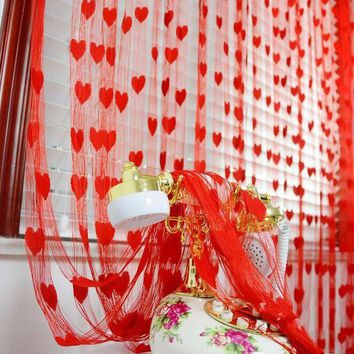 LMF78W 1*2meter heart String Tassel room door window curtain Divider for Birthday Wedding Party Decoration gift DIY background favor