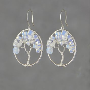 Sterling silver opalite stone wiring oval tree of life hoop earrings  Bridesmaid gifts Free US Shipping handmade Anni designs