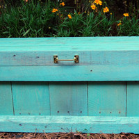 Turquoise Hope Chest / Toy Box Reclaimed Pallet