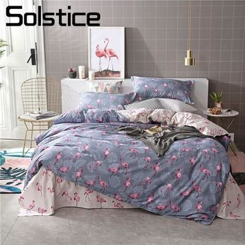 Cool Solstice Home Textile Flamingo Gray Bedding Set Kid Teen Boy Girl Linen Duvet Quilt Cover Pillowcase Bed Sheet King Queen 3/4PcsAT_93_12