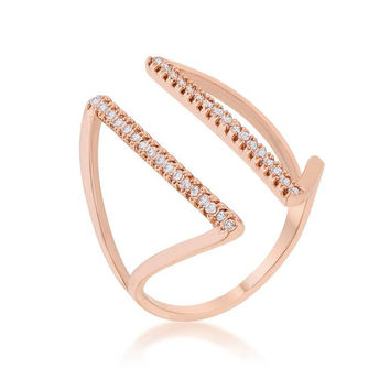 Jena 0.2ct Cz Rose Gold Delicate Parallel Ring, size : 10