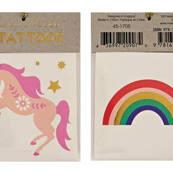 Unicorn and Rainbow temporary tattoos