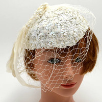 Vintage White Sequined Tilt Hat with Feather and Veil, Iridescent Sequins, Bridal Hat, circa 1950s-1960s