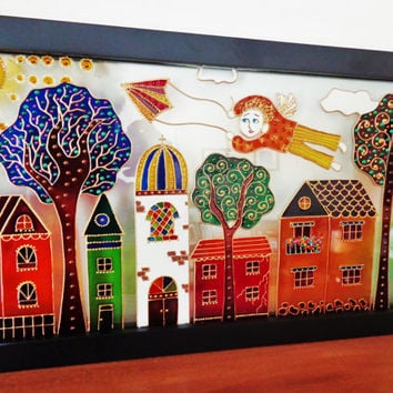 "Old town & Angel art 17""x9"" Glass painting Wall decor"