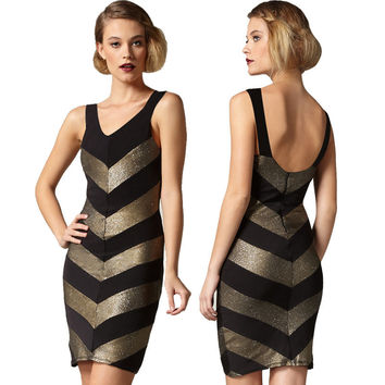 Women's Fashion V-neck Sexy Spaghetti Strap Backless Club Ball Gown Bandages Dress [4919882948]