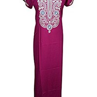 Mogul Womens Caftan Nightgown Neck Embroidered Boho Maxi Caftan House Dress L (Pink 3)