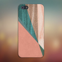 Peach x Green x Light Wood Case for iPhone 6 6+ iPhone 5 5S 5C iPhone 4 4S and Samsung Galaxy S5 S4 & S3
