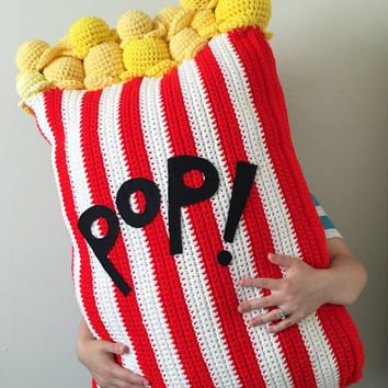 Extra Large Crochet Popcorn Food Floor Pillow, (36x24 inches)