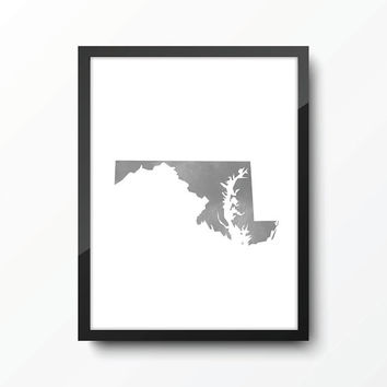 Maryland state art print - Watercolor Style - Gray