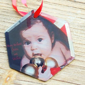 Personalized glass ornament, christmas ornament, photo ornament, tree ornament, stocking stuffer, holiday ornament, personalized gift