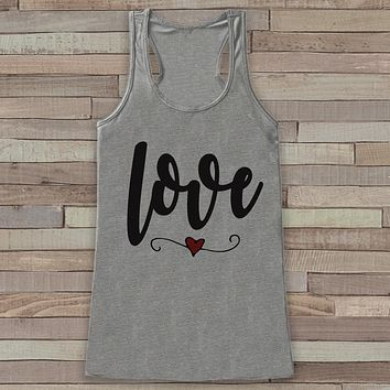 Womens Valentine Shirt - Cute Valentine's Day Tank Top - Women's Happy Valentine's Day Tank - Love Heart Valentines Shirt - Grey Tank Top