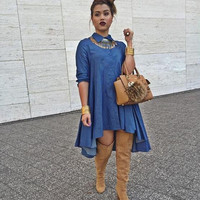 Denim Half Sleeve Dress/Tunic