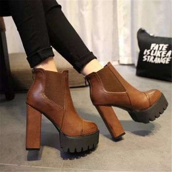 Sexy Ultra High Heels Shoes Woman Martin Boots Autumn Winter Women Bootie Platform Zipper Sapatos femininos PU Leather 2017 New