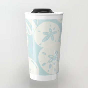 Cream Seashells on Aqua Travel Mug by Noonday Design