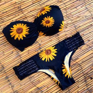Sunflower patterned bikinis sexy bra swimsuit
