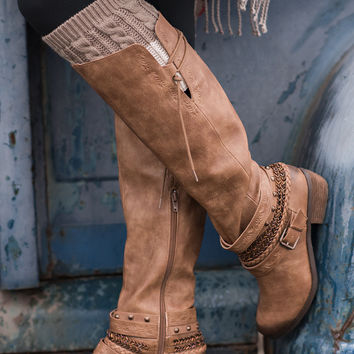 Along For the Ride Embellished Strappy Riding Boot (Tan)